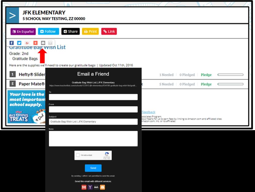 share classroom with lists via email screenshot