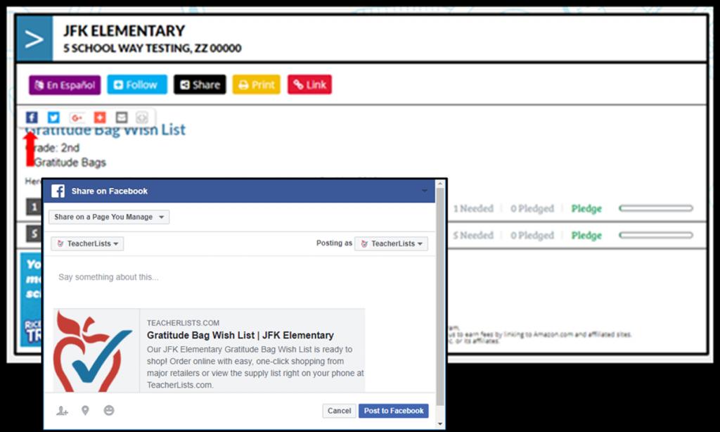 share classroom wish lists on Facebook screenshot