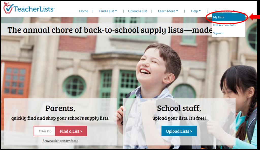 TeacherLists home page