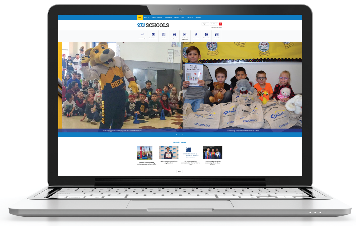 27J school district webpage on laptop