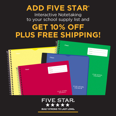 5 Star Notebooks in yellow, red, blue and green