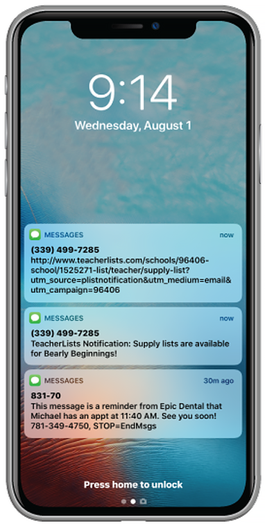 text notifications on cell phone
