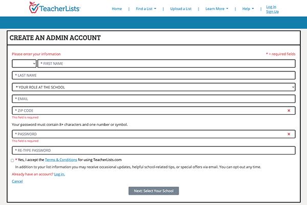 Create an admin account