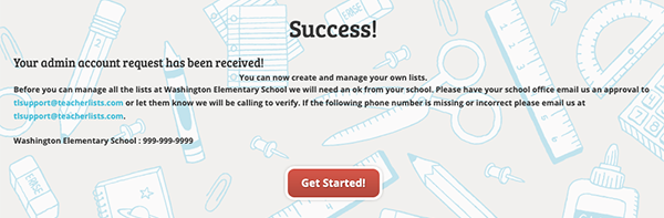 Success! Your admin request has been sent.