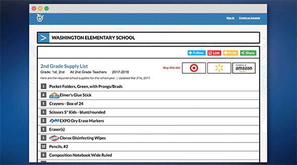 Animation showing how easy it is to share school supply lists with parents.
