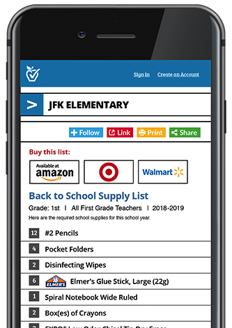 cell phone with school supply list on screen