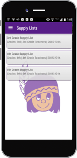 TeacherLists supply lists displayed on a school app