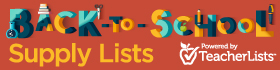 Back to school supply lists banner with red background